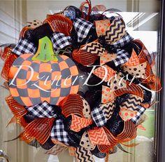 Checkered Pumpkin deco mesh Wreath by DzinerDoorz on Etsy, $125.00