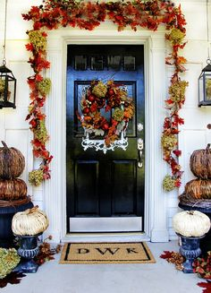 Budget Fall Decorating Ideas For the Front Door back doors, mat, front doors