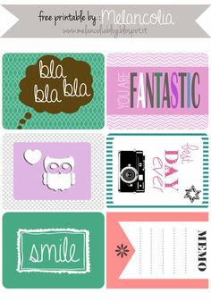 Free Journal Cards for Project Life from Melancolia