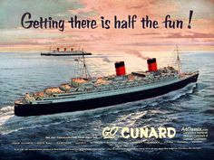 Cunard Line--not the Queen Mary since she has 3 stacks.  (I think that is her in the background.) Wonder which one it is?