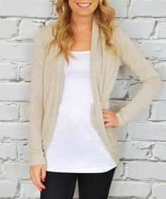 Love this Oatmeal Tapered Open Cardigan on #zulily! #zulilyfinds