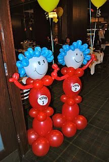 Dr.Seuss Balloon Decor - would be great for my twins birthday!