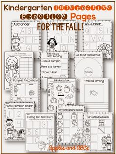 Kindergarten Interactive Practice Pages for Halloween and Thanksgiving