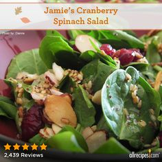 "Jamie's Cranberry Spinach Salad | ""This is easy peasy! I followed the directions to a T. It was the first thing our guests finished at our Thanksgiving Day feast!"""