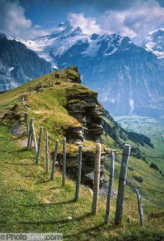 Shreckhorn is seen from First, above Grindelwald Valley in Switzerland