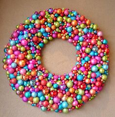 Christmas ball wreath (love the candy-colored theme for Christmas!)
