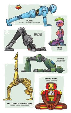 """Robot Yoga"" art print by Rob Osborne. From the artist behind Star Wars Yoga comes the Yoga Super Pop Collection!"
