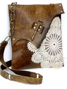 Boho Leather Messenger Bag with Crochet Doily and Antique Key