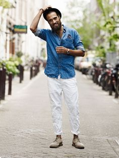 white + blue, chambray + canvas // casual menswear street style