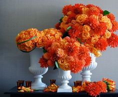 orange reception wedding flowers,  wedding decor, orange wedding flower centerpiece, orange wedding flower arrangement