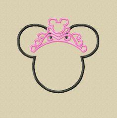 NEW 2013 Design - INSTANT DOWNLOAD - Miss Mouse Head/Ears with Tiara Applique Embroidery Design - 4x4 5x7 6x10 - Birthday, Bride, Princess Half Marathon