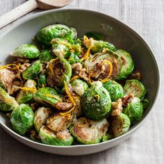 Sautéed Brussels Sprouts with Orange and Walnuts | MyRecipes.com
