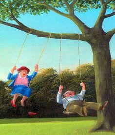 Old couple on tree swings cartoon illustration via www.Facebook.com/GleamOfDreams