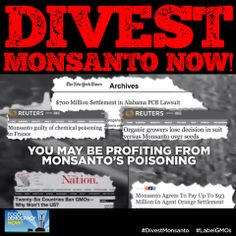 BREAKING: take the Monsanto stock plunge! Right now, Wall Street invests billions of dollars in Monsanto in investment and retirement funds! Unfortunately, you or your family may be profiting from Monsanto's toxic chemicals and GMOs!  Tell your friends and family – Friends don't let Friends invest in Monsanto! Take action here: http://bit.ly/1lD1Q6G #DivestMonsanto #labelGMOs