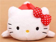 red-white fluffy Hello Kitty plush pencil case