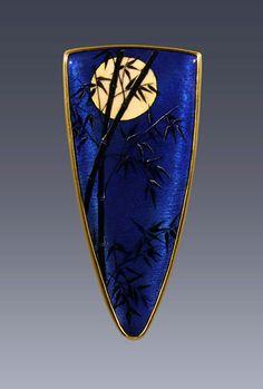 "Pin/pendant ""Moonlit Bamboo"", Enamel, 18k, 22k gold - By Larissa Enamels"