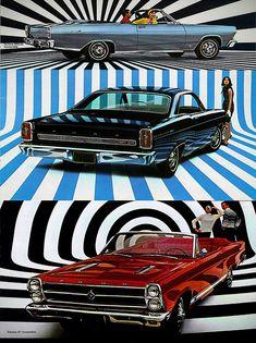 vintag car, optical illusions, vintage cars, advertis vintag, illus ad, optic illus, aim aim