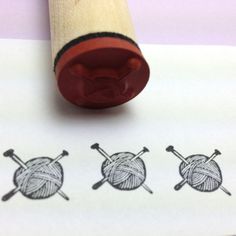 Knitting Needles in Ball of Yarn Rubber Stamp by RADstamps on Etsy, $3.75