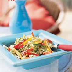 Thai summer slaw-Ingredients      Slaw: 3 cups thinly sliced napa (Chinese) cabbage, 1/2 cup (1/8-inch) julienne-cut yellow squash, 1/2 cup (1/8-inch) julienne-cut zucchini, 1/2 cup (1/8-inch) julienne-cut red bell pepper   1/2 cup (1/8-inch) julienne-cut yellow bell pepper       1/2 cup (1/8-inch) julienne-cut seeded peeled cucumber       1/2 cup shredded carrot      1/2 cup chopped fresh cilantro      1/4 cup thinly sliced green onions       1/4 cup grated radishes      1 minced seeded jalapeño pepper
