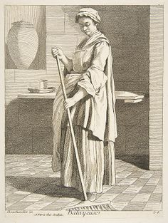 Woman Sweeping, Anne Claude de Tubieres, after Edme Bouchardon, etching with some engraving, 1746.
