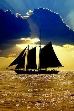 Sailboats at sunset...