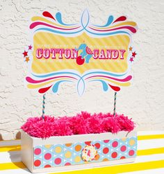 DIY sweets station sign with pink yarn poms {Download this sign & more for free on the full post} Graphic design & styling by Jenn of HWTM