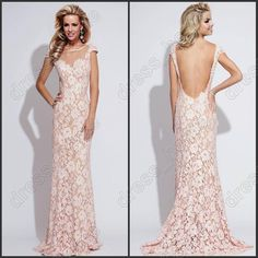 Wholesale Prom Dresses - Buy Unique Design Mermaid Crew Floor Length Pink Lace Prom Dresses Low Back Sexy Prom Gowns Long Formal Evening Dre...
