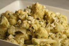 Cauliflower with pesto and blue cheese!