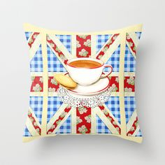 Union Jack and a Cup of Tea Throw Pillow by #PatriciaSheaDesigns - in three sizes on #Society6