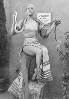 Circus performer with her snake.