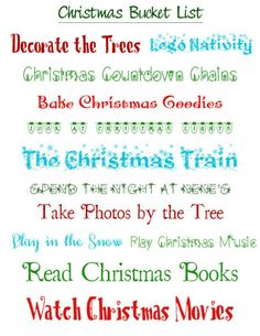 Christmas 2013 Bucket List