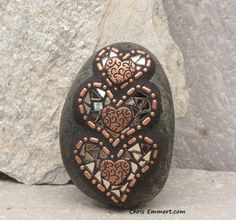 3 Copper Hearts and Bronze Mirror / Mosaic by ChrisEmmertMosaic, $26.00