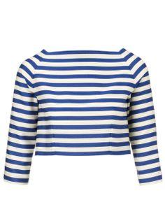 Blue Stripe Cropped Beagle Top   Olympia Le-Tan   Avenue32