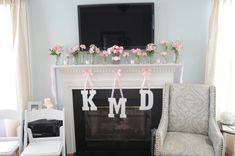 Bridal shower decor kelsey bridal, fireplac, letter, bridal shower ideas, newlyw mcgee, mason jars, monograms, parti, bridal showers