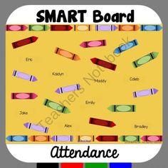 Crayon Theme Attendance for SMART Board from Mrs. Beattie's Classroom on TeachersNotebook.com -  (3 pages)  - Crayon Theme Attendance for SMART Board