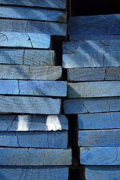 Stacks of blue.