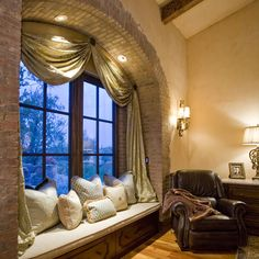 Window seat, Tuscan style home...
