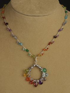 Multi Colored Spectrum Necklace Chain   Handcrafted Jewelry