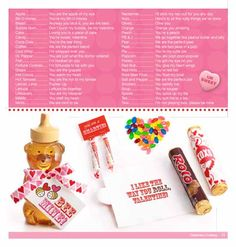List of cute sayings to go with candy, etc. for valentines or any occasion.