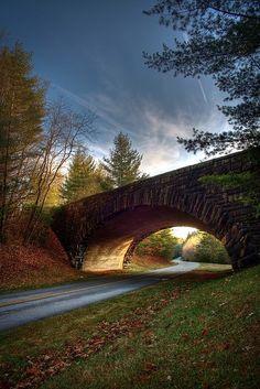 one of the many handbuilt bridges on the Blue Ridge Parkway in North Carolina.
