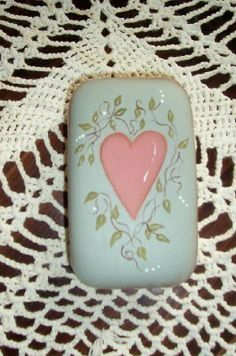 Cottage Primitive Heart Vines Bath Soap Kitchen Laundry Handpainted Country Decoration Green Pink Spring. $5,00, via Etsy.
