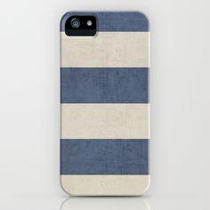 vintage dark blue stripes iPhone & iPod Case by Her Art - $35.00