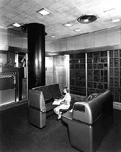 IBM Selective Sequence Electronic Calculator (1948).    This is only the cosole, the rest is in a giant room or rooms