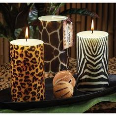Safari Wild Animal Print Giraffe Print Pillar Candle