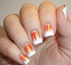 nailart nail, orang waterfal, glitteri nail, waterfal nailart, nail orang, nails, nail design, orang white, nail art