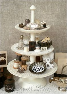 Love how Julia painted and decorated this three tiered cake stand!