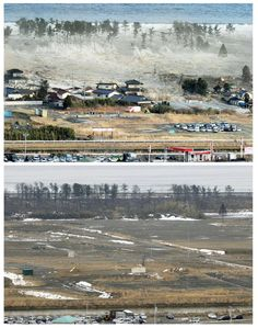 The tsunami-devastated Natori city in Miyagi prefecture, is seen in these images taken March 11, 2011 (top) and March 1, 2012, in this combination photo released by Kyodo on March 7, 2012, ahead of the one-year anniversary of the March 11 earthquake and tsunami. Mandatory Credit REUTERS/Kyodo