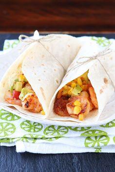 Firecracker Shrimp Tacos with Avocado Corn Salsa