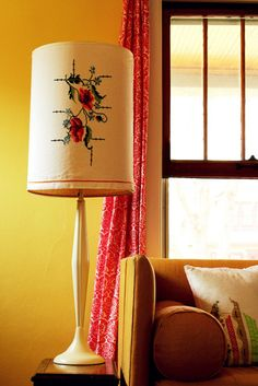 lampshade slipcovers...when you put it like that it sounds sorta silly, but yay for more uses for vintage embroidery!