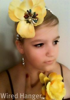 beaded-floral headband and matching ring